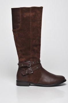 Top Secret brown low heel boots with metallic spikes