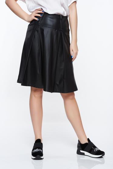 Top Secret black skirt high waisted from ecological leather casual