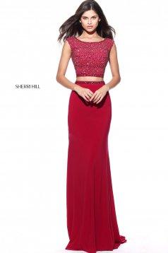 Sherri Hill 51125 Burgundy Dress