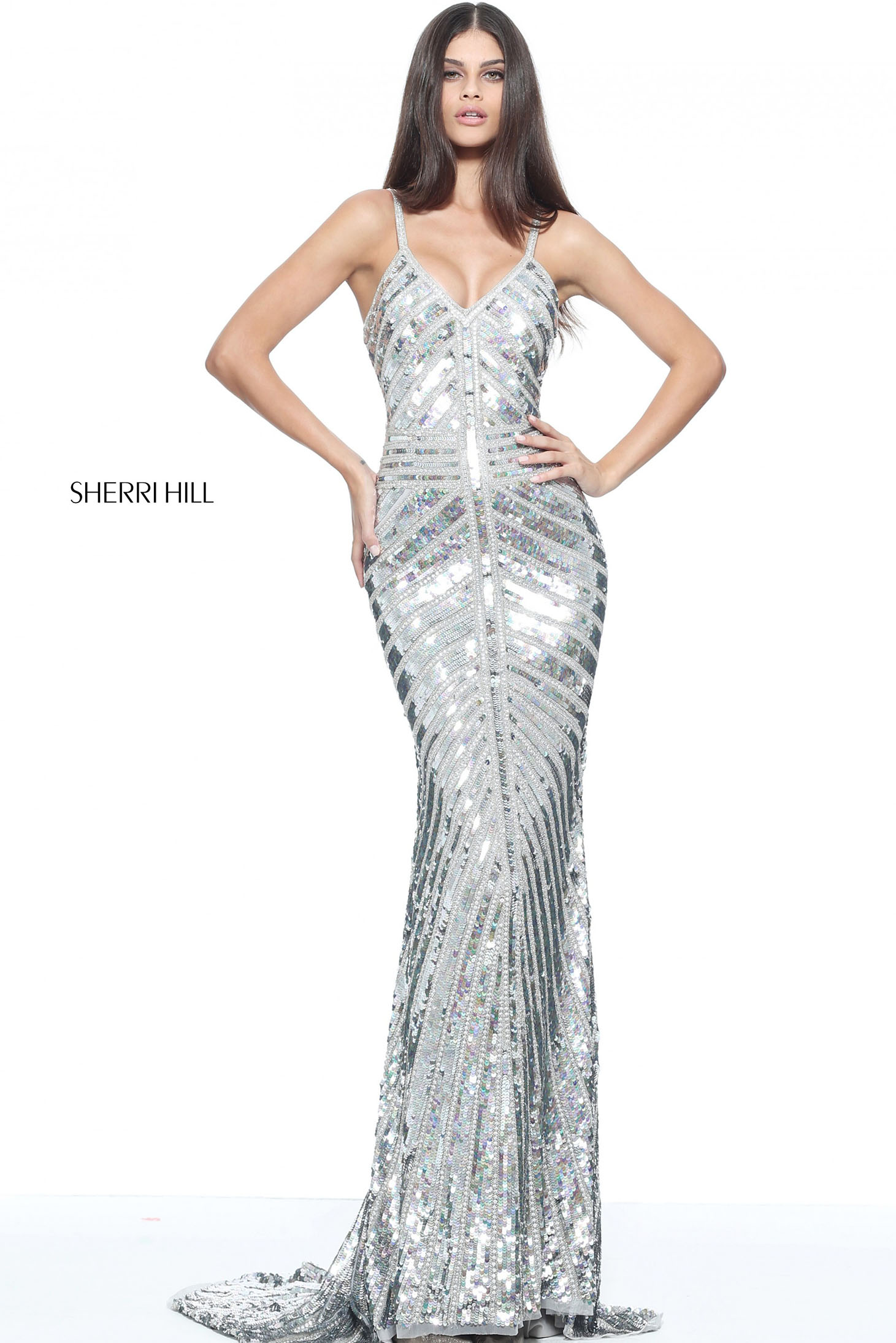 sherri hill silver dress