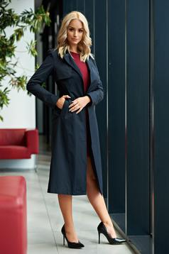 Top Secret darkblue trenchcoat basic accessorized with tied waistband