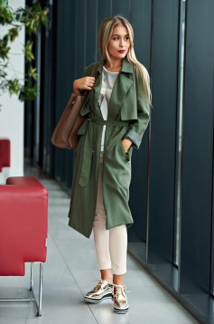Top Secret casual easy cut green trenchcoat