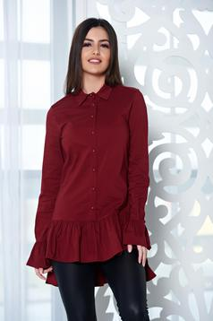 PrettyGirl Frilled Base Burgundy Shirt