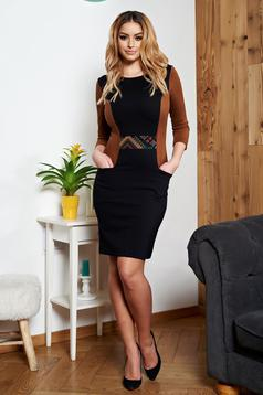 StarShinerS black dress with pockets and graphic details