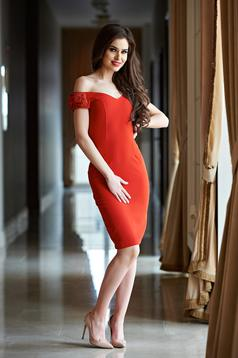 StarShinerS red occasional dress with a cleavage lace strass
