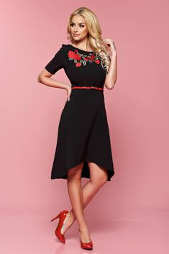 StarShinerS asymmetrical black manual sewed embroidery dress