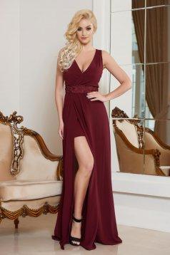 StarShinerS burgundy elegant dress with v-neckline