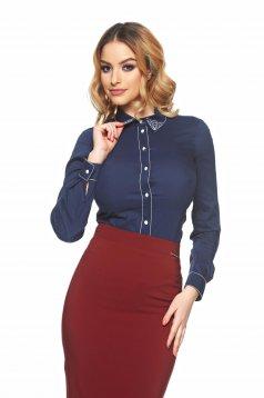 LaDonna Modern Collar DarkBlue Shirt