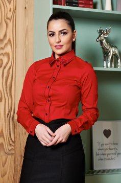 LaDonna Modern Collar Red Shirt
