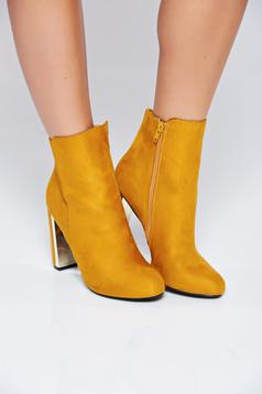 Top Secret yellow round tip square heel ankle boots