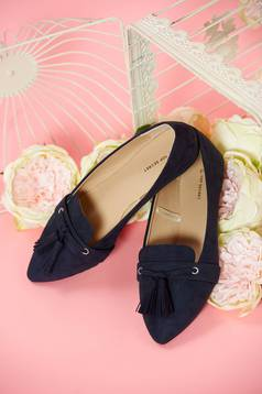 Top Secret blue slightly pointed toe tip shoes with tassels