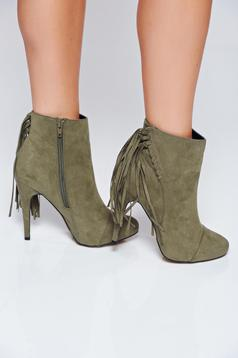 Top Secret darkgreen high heels ankle boots with fringes