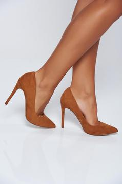 Top Secret lightbrown office high heels shoes slightly pointed toe tip