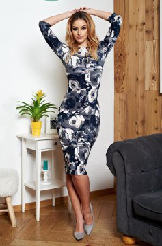 StarShinerS grey dress pencil with floral prints