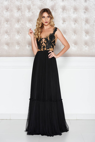 Ana Radu black dress from tulle cloche luxurious with embroidery details