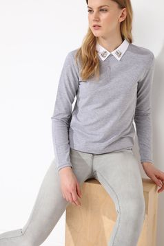 Top Secret grey women`s blouse with a collar casual