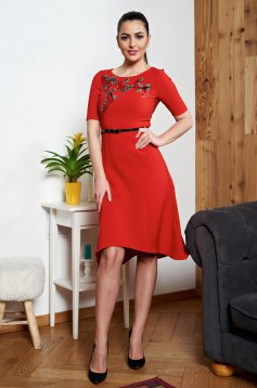 StarShinerS asymmetrical red manual sewed embroidery dress