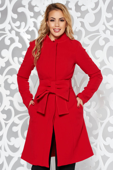 Artista red coat elegant cloche with inside lining accessorized with tied waistband with bow