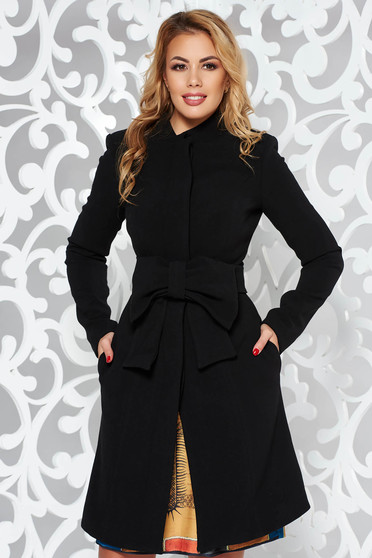 Artista black coat elegant cloche with inside lining accessorized with tied waistband with bow
