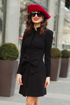 Artista black elegant cloche coat with inside lining accessorized with tied waistband with bow