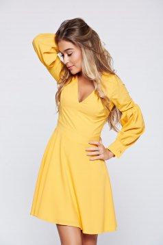 Artista yellow cloche dress with v-neckline