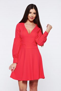 Artista coral cloche dress with v-neckline