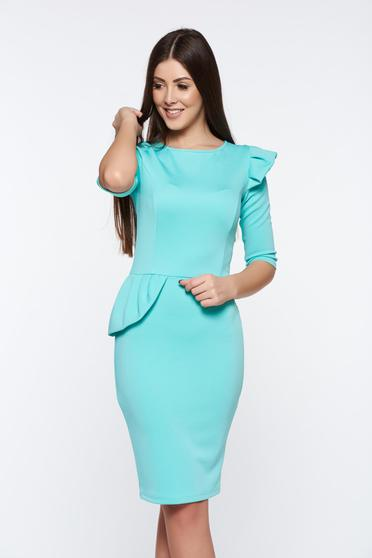 Artista mint dress office pencil from elastic fabric with ruffle details