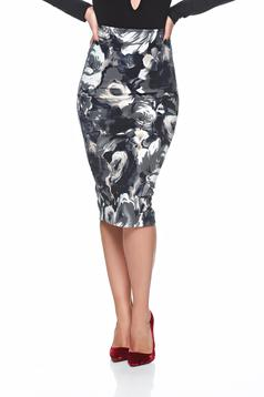 StarShinerS high waisted grey skirt with floral print