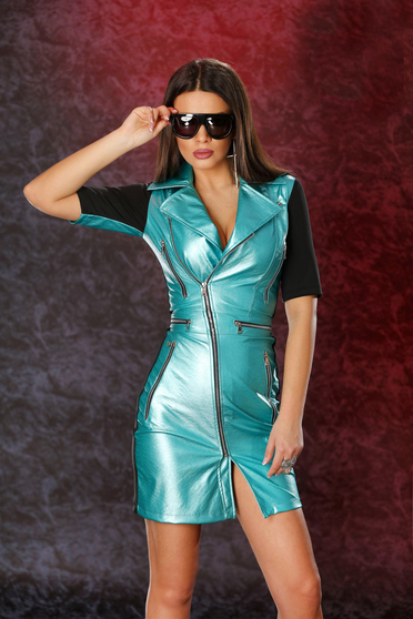 Ocassion green clubbing pencil dress with front faux leather