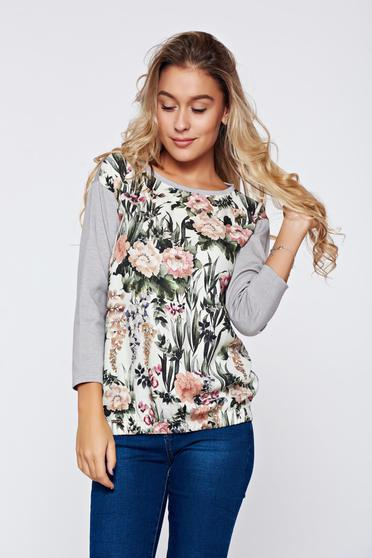Top Secret casual grey women`s blouse with floral prints