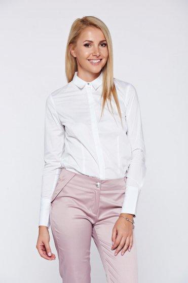 Top Secret white basic women`s shirt long sleeve