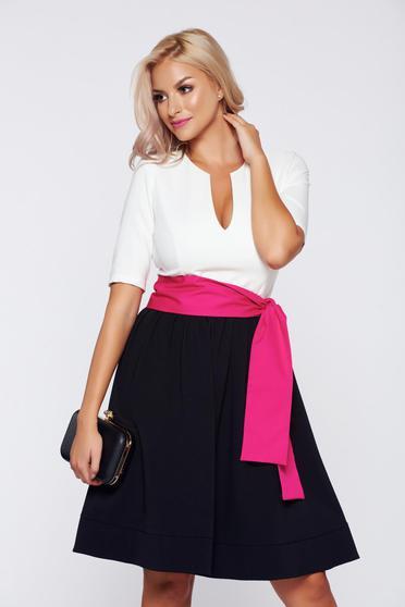 PrettyGirl cloche black elegant dress accessorized with tied waistband