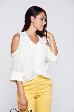 PrettyGirl nude elegant women`s shirt with both shoulders cut out and pearl embellished details