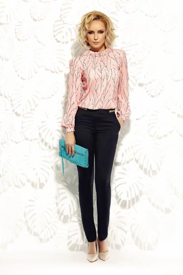 Fofy office black straight trousers with medium waist