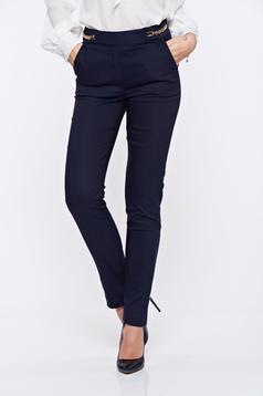 Fofy office darkblue straight trousers with medium waist