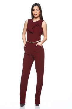 Artista burgundy elegant jumpsuit with bow shaped accessory