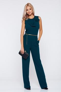 Artista green elegant jumpsuit bow shaped accessory