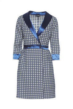 Artista darkblue cloche dress with a cleavage with pockets