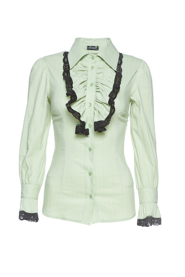Artista lightgreen office women`s shirt with lace details with ruffle details