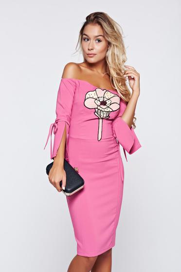 Artista off shoulder pink pencil dress