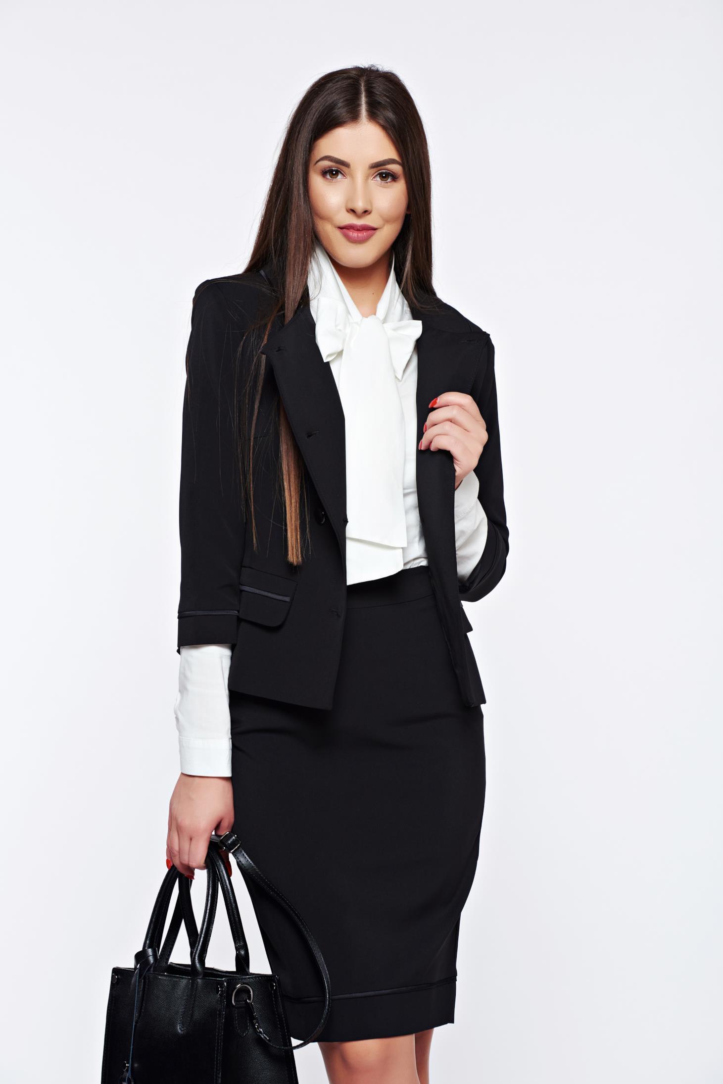 Costum damă LaDonna negru office captusit pe interior