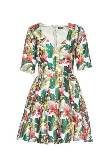 Artista green dress from jacquard elegant with inside lining with v-neckline