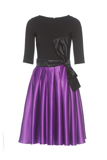Artista purple occasional cloche dress from satin fabric texture