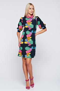 PrettyGirl black flared dress with 3/4 sleeve