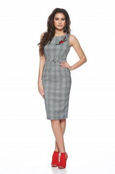 PrettyGirl Beautiful Embroidery Grey Dress