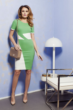 PrettyGirl Office Color Green Dress