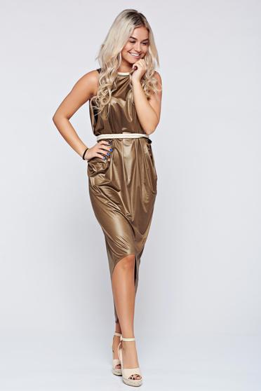 Daniella Cristea brown dress asymmetrical cut elastic fabric