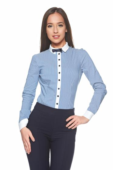 Fofy blue cotton office women`s shirt with bow shaped accessory