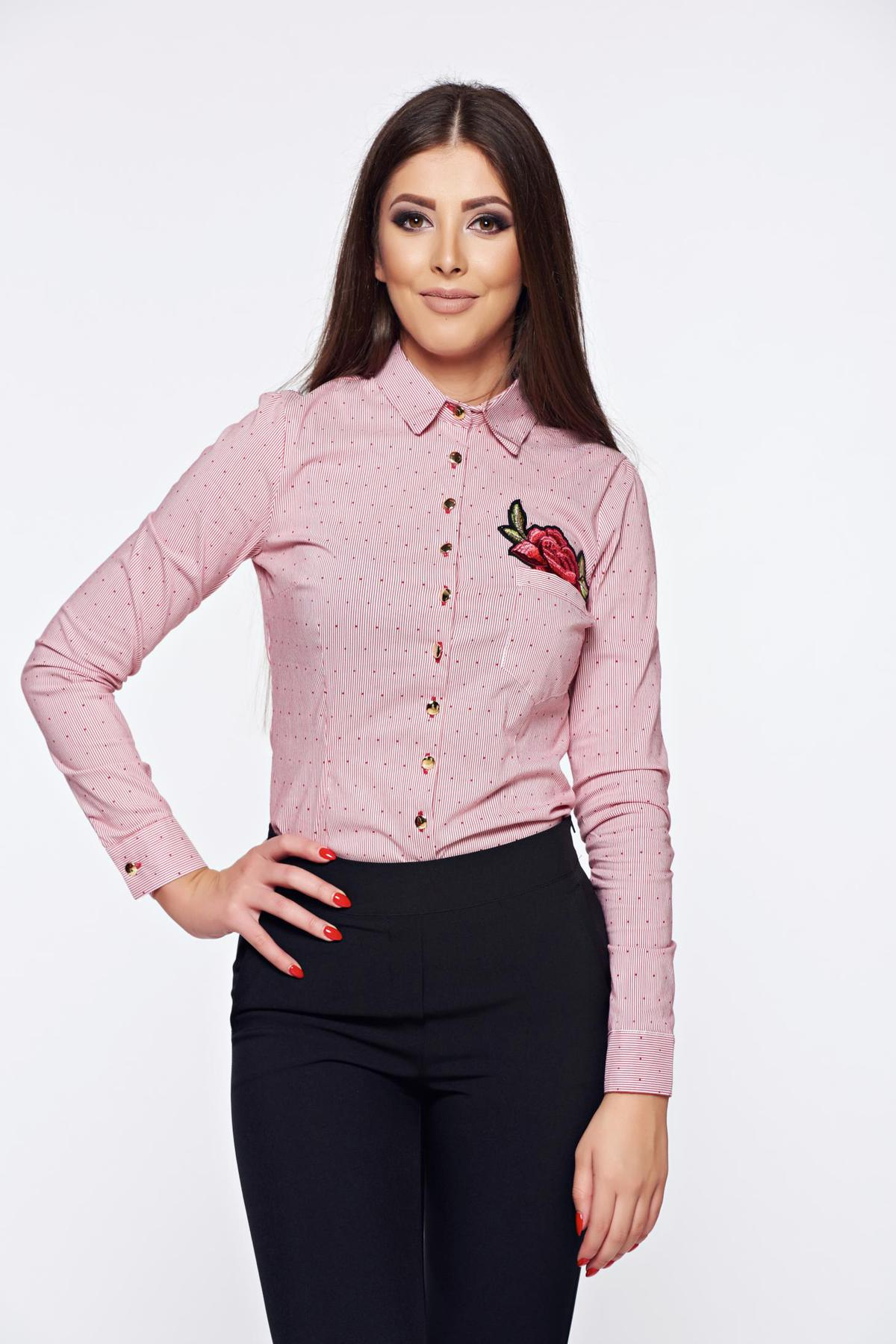 Camasa dama Fofy rosie office din bumbac cu insertii de broderie