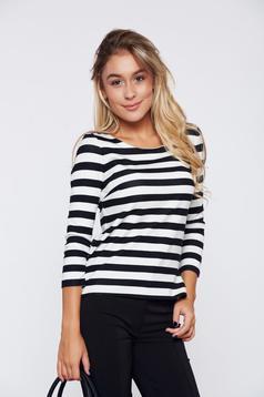 StarShinerS black women`s blouse with horizontal stripes